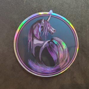 dark unicorn holographic sticker